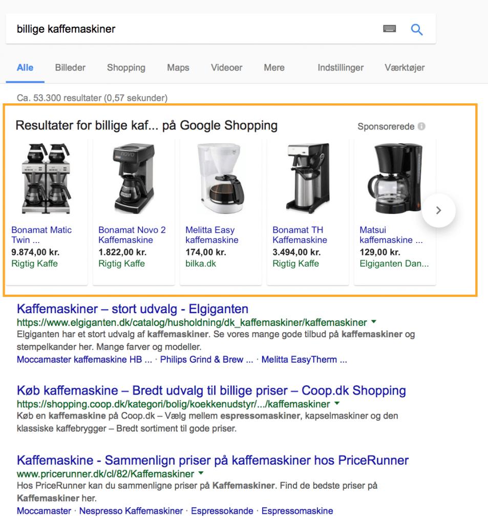 Billede af Google shopping annoncer